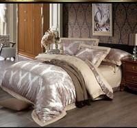 4/6pcs Jacquard+Embroider Silk bedding set queen king size Luxury Satin comforter/duvet cover/bed sheet/bedclothes home textile