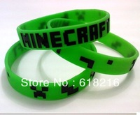 wholesale 100pcs  Minecraft craeeper  Bracelet my world coolie JJ strange fear silicone  Wristband Christmas gift 5 colors #658