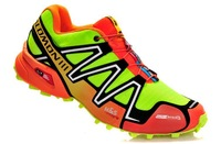 ( Spot ) Salomon shoes waterproof shoes trail runners SPEEDCROSS3 CS + orange and green fluorescence 40-45