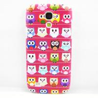 Cute Hot Pink Multiple Cartoon Owl Hard CASE COVER SKIN Coating FOR Samsung Galaxy S4 Mini i9190