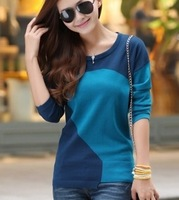 2013 autumn medium-long color block decoration o-neck long-sleeve pullover basic shirt women's sweater female