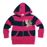 FREE SHIPPING F3259#  Nova kids wear spring autumn striped fuchsia long sleeve hoodies for girls