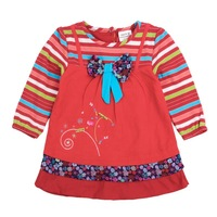 FREE SHIPPING H3919# 12m/5y 5pieces /lot beautiful and lovely flower embroidery hot autumn spring  baby girl cotton dress