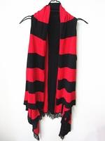 Et autumn fashion stripe tassel cape outerwear medium-long sweater women's vest