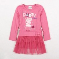 FREE SHIPPING H4030# Nova Kids party dress 18m-6y baby girls hot Peppa Pig cotton long sleeve dress for spring autumn