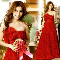 The bride married red winter evening dress evening dress long train cheongsam design 5126