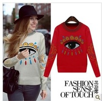 2014 new women's autumn and winter thick knitted wool eye printed clothes loose long-sleeved sweater 5014
