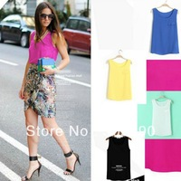 Lady New Fashion 2013 Tank Blouse One Pocket Chiffon Tops Women Candy Color Shirt Black Blue Yellow Pink White Drop Shipping