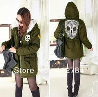 2013 new Women European and American style Winter Skulls Army Green Lamb's wool inside Sandwiching Cotton Thicken Female Coat
