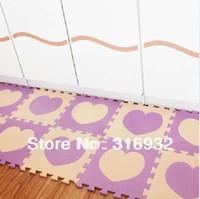 WM018 High qualiity Heart design (Beige+voilet) eva puzzle eva foam baby carpet puzzle for Children, 10pcs/set