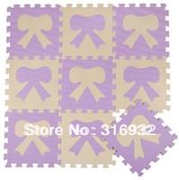 WM018 Beige and violet bow design eva foam Puzzle Floor Mat for baby carpet puzzle, 10pcs/pack