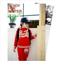 Free shipping 2014 New Children put letters red blue hooded fleece long-sleeved casual sport suits hz8D40