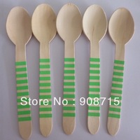 Free shipping 157mm disposable wooden cutlery, Wooden Utensils,wood forks,green striped spoons 100PCS/lot