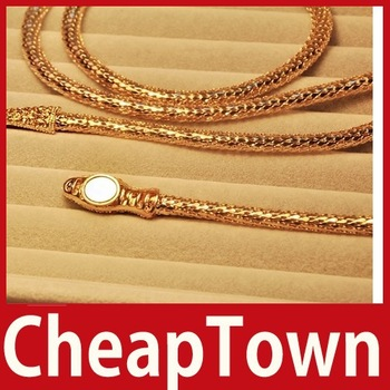[CheapTown]  	Gorgeous Silvery Mesh Rhinestone Bendable Golden S-shaped Necklace Waist Chain Save up to 50%