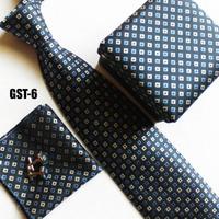 High fashion necktie set cufflink + hankie + gift box + striped cravates white blue geometric neck tie set