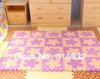 WM018 High qualiity flower (Beige+violet) eva puzzle foam baby play mat for Children, 10pcs/set