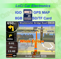 Free shipping! The latest 8GB SD/TF memory card with car IGO Primo GPS Navigator map for Whole Europe