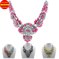 2013 Fashion Rainbow Acrylic Flower  Shourouk Necklace  Statement Jewelry Luxury Crystal Choker Necklace for Women Free Shipping