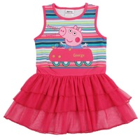 NOVA kids wear new 2013 tunic top hot selling baby girl peppa pig clothing girs' fashion summer lace dress for girls H4166