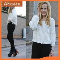 Free Shipping, 2013 New Fashion Autumn & Winter Women 3D Rose Shirts, O-Neck Long Sleeve Women Blouse,  552