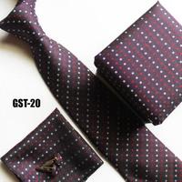 New design burgundy neck Ties set handerchief + cufflink + gift box + cravates for fashion man