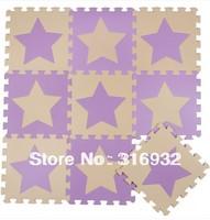 WM018 High qualiity Star (Beige+violet) eva puzzle eva foam baby carpet puzzle for Children, 10pcs/set