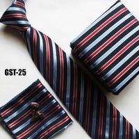 Hot selling Ties set match dress suits pocket handkerchief + cufflink + gift box + fashion stripes gravata FREE SHIPPING