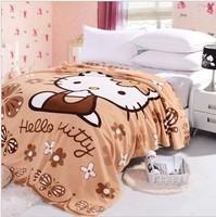Free shipping! Retail 38 colors hello kitty Coral velvet woolen blanket,lovely cartoon woolen blanket,size 200*150cm