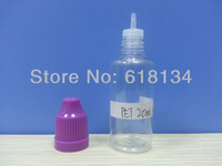 Wholesale Free shipping--20ml PET childproof cap bottle with thin tip for 2500pcs by FedEx shipping E-cigarette