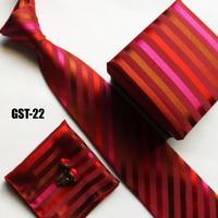 New arrival red striped neck Ties set for men handerchief + cufflink + gift box + cravates