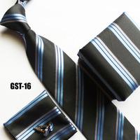 Classic designers neck tie set handerchief + cufflink + gift box + cravates black with white blue stripes FREE SHIPPING