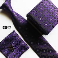 Unique designs Ties set handerchief + cufflink + gift box + cravates elegant purple necktie set