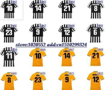 Juventus club Chiellini Pogba Marchisio Vucinic Tevez Ceglie Giovinco Llorente Pirlo Pardo soccer jersey thai uniform home away