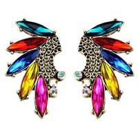 Wholesale 2044 New Arrive Fashion Jewelry Atmonphere Punk Colorful Horse Eye Crystal High Quality Tassel Stud Earring JE80