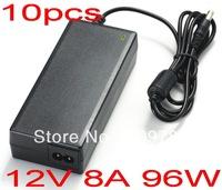 Free shipping 100% New 10PCS  96W AC 100V-240V Converter Adapter DC 12V 8A Power Supply DC 5.5mm x 2.5mm