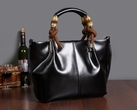 2013 high quality bright color handbag genuine leather tote winter shoulder handbag for women messenger bag free shipping