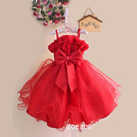 Retail&wholesale girl party dress princess dress lovely bow lace dresses girl red/pink Christmas dress for3-9Y baby,free shiping