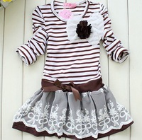 Children's striped princess dresses girl long sleeves ball gown dress  Girls lace bow Dresses children clothing  spring autumn