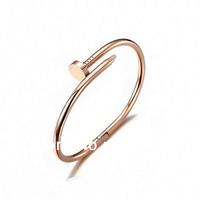 Elegant Designer 18K Rose Gold NAIL BRACELET,A Simple Nail Turn To A Bracelet.Attractive Cuff Bracelet Jewellery For Womens Xmas