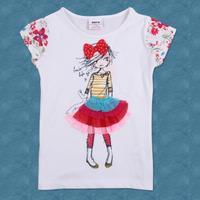 FREE SHIPPING K2436#  kids wear cotton short sleeve summer  girls t shirts