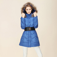 2013 winter new fashion Nagymaros collar and long sections Slim luxury genuine white duck down jacket women