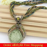 Min Order $10(Mix Items) Bohemia Fashion Mediterranean Style Beads Rope Turquoise Costume Pendant Necklace Wholesale