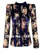 2013 new women's chiffon korean air blue print velvet lace fight bottoming shirt lace shirt