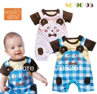 New baby short-sleeve Romper, Animal style short-sleeved plaid suspender Romper 6pcs/lot Free Shipping