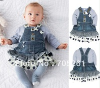 new Wholesale  Autumn girls denim skirt + long-sleeved t-shirt two-piece ,Size:80-90-100,5 set/lot,Free Shipping