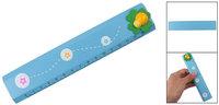 Kids Green Leaf Ladybug Design Blue Painted Wood Ruler