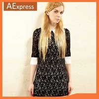 Free Shipping 2013 New Cute Black Lace Women Dresses With Half Sleeve, Vintage Mini Bodycon Dress for Party, Casual Dress
