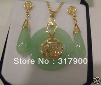 "Lucky Jewelry Nature Green Jade ""blessing"" Word Earrings Pendant Set"