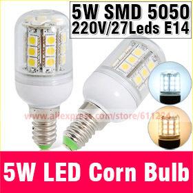 5W E14 220V 5050 Warm White/White LED Corn Bulb 27 pcs Led Chip Bulb 360 degree bulbs Spot Light E27 Led Corn Bulb Lighting