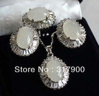 New Women's jewelry white jade pendant earring ring size 8# set